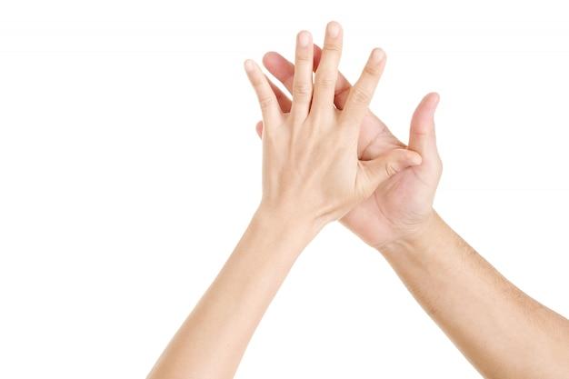 両手こんにちは。女の手と男の手こんにちは5。 Premium写真