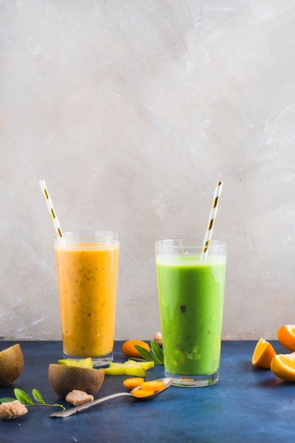 Two healthy and delicious smoothies Free Photo