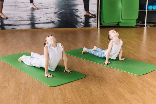 Two healthy girl exercising on green mat over wooden desk Free Photo