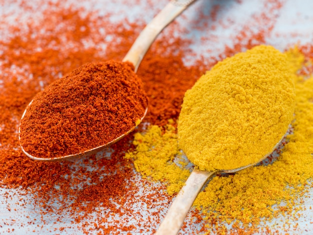 two heaping scoops of spices of paprika powder and turmeric curry