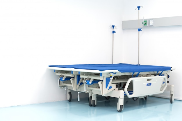 Two Hospital Bed On The Room Corner Hospital And Emergency Room Concept Premium Photo