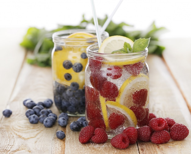Two jars with different drinks Free Photo