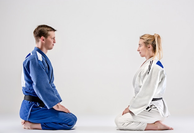 The two judokas fighters posing on gray Free Photo