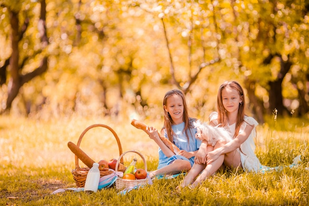 Two little kids on picnic in the park Premium Photo