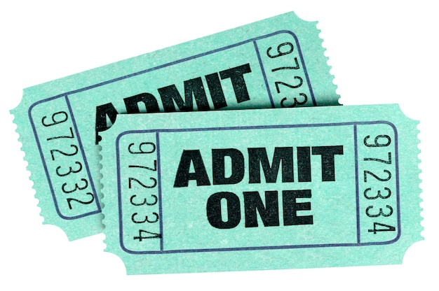 Two old green admit one tickets Premium Photo