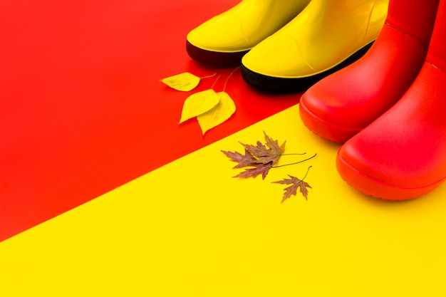 Two pairs of bright rubber boots-red and yellow are on a contrasting background and in front of them are autumn leaves. Premium Photo