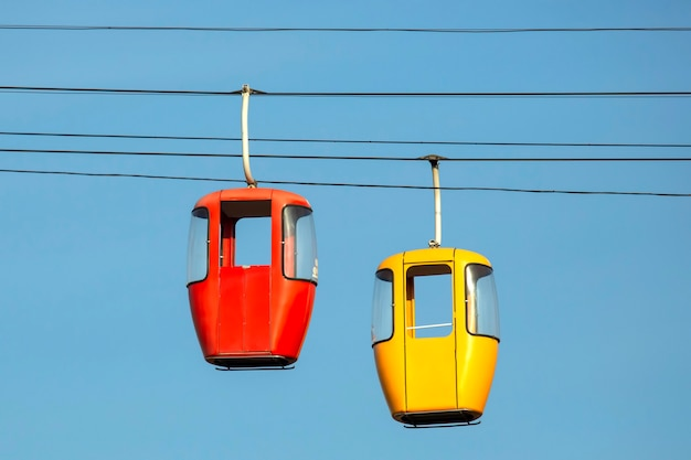 Two passenger cabins on the cable car Premium Photo