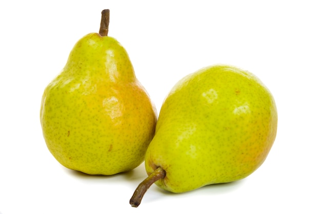 Two pears isolated on white Premium Photo