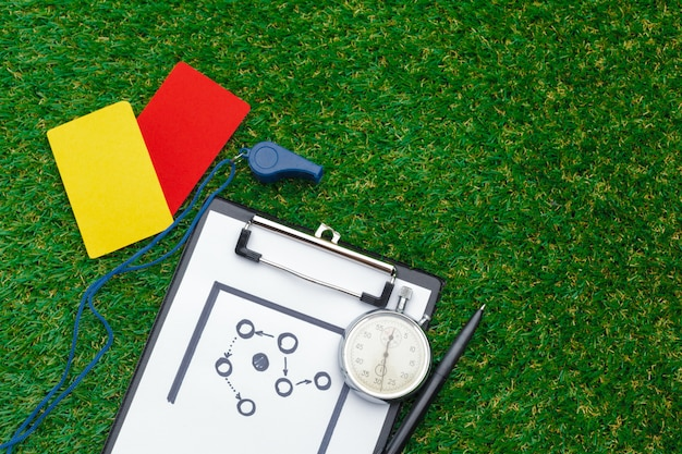 Two penalty cards and a whistle Premium Photo
