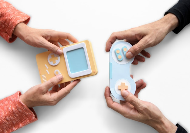 Two person playing game console Premium Photo