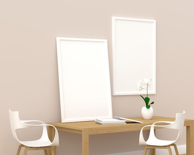 Two photo frame for mockup in modern living room, 3d render, 3d illustration Premium Photo