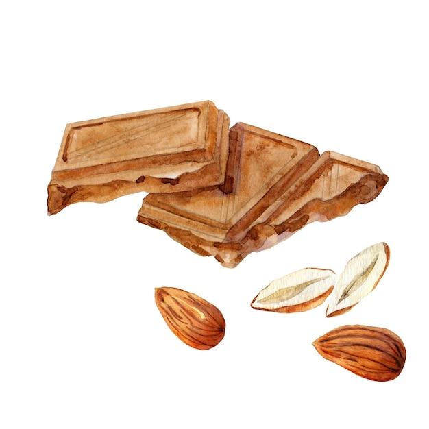 Два кусочка шоколада с миндальным орехом Premium Фотографии