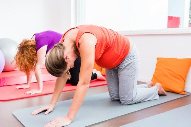 Two pregnant women exercising during prenatal class Premium Photo