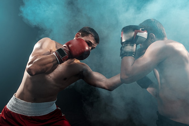 Two professional boxer boxing on black smoky space, Free Photo
