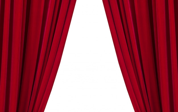 Two red curtains on the white background Premium Photo