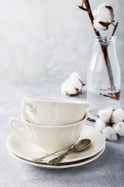 Two retro porcelain tea cups Premium Photo