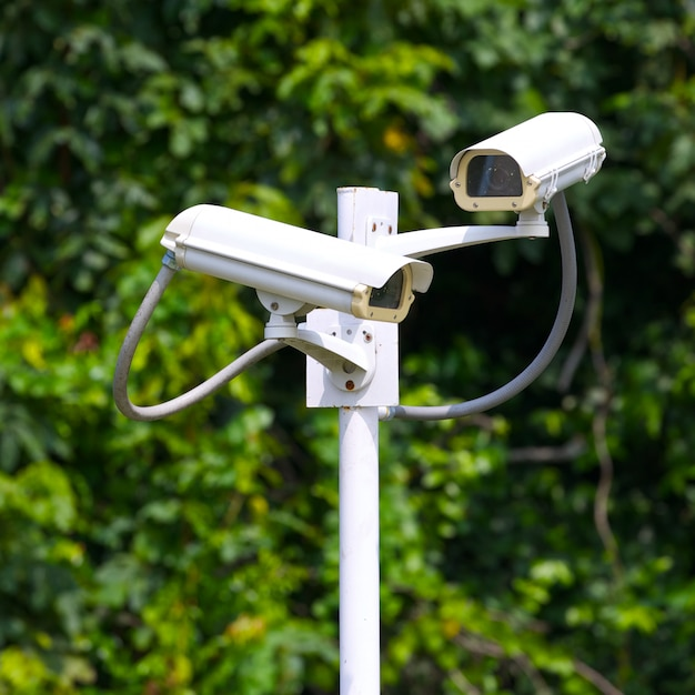 Two security surveillance cameras near green forest Premium Photo