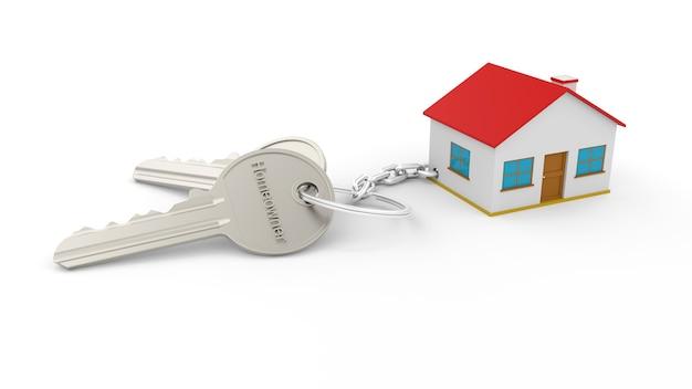 Два серебряных ключа с цепочкой для ключей от дома с текстом «домовладелец», все изолированные на белой стене. брелок для ключей 3d home. концепция недвижимости с домом и ключом Premium Фотографии