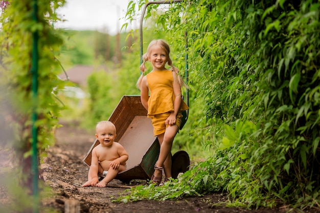 Two small children girl and boy in the country in a garden wheelbarrow sitting smiling Premium Photo