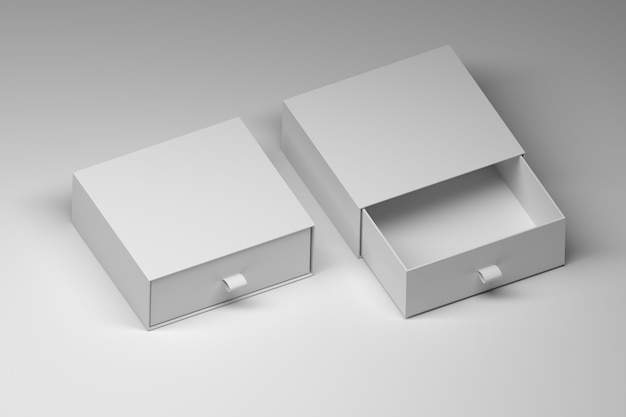 Two square white boxes templates mockups with blank surfaces on white Premium Photo