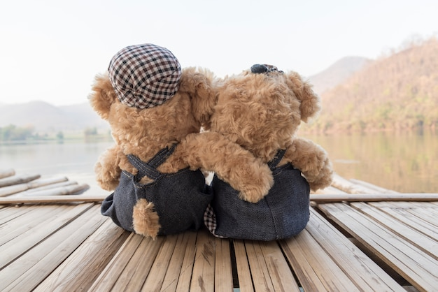 two teddy bears on raft floating Free Photo