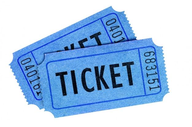 Vista frontale blu di due biglietti isolata su bianco Foto Gratuite