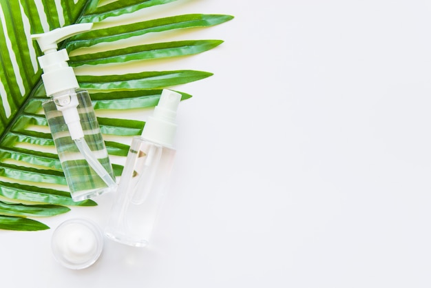 Two transparent cosmetic bottle with spray head and moisturizer on green leaf against whit e background Free Photo