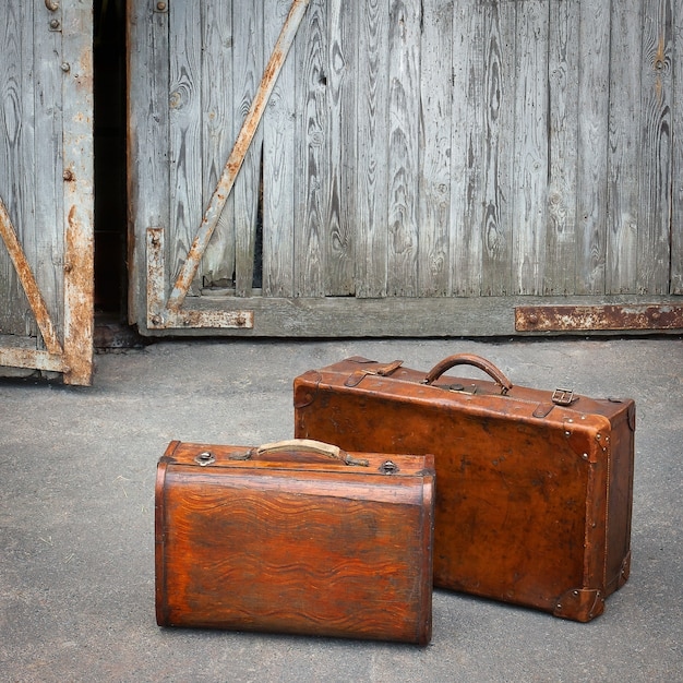 Two Travelling Suitcases Stand Near A Garage