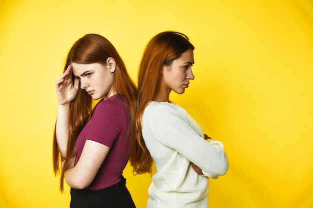Two upset redhead caucasian girls are standing disappointed back to back dressed in casual clothes Free Photo