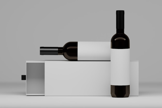 Two vine bottles with white labels and packaging gift box on white. 3d illustration. Premium Photo