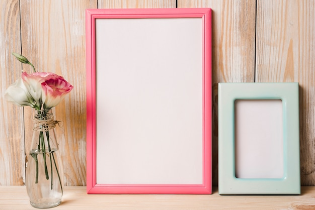 Two white frame with pink and blue border and flower vase against wooden background Free Photo