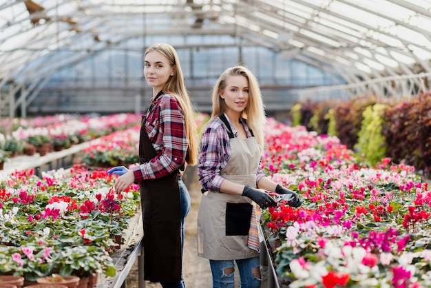 Two women caring for flowers Free Photo