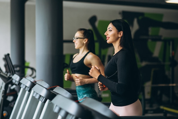 Two women training together at gym Free Photo