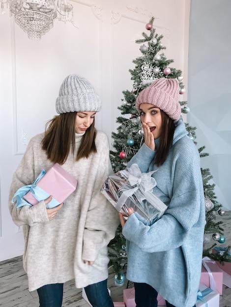 스웨터와 선물 모자를 입고 두 어린 소녀 프리미엄 사진