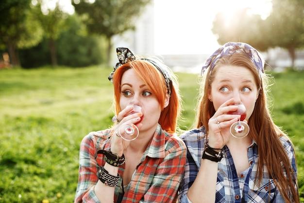 피크닉, 가장 친한 친구 개념, 근접에 재미 두 젊은 힙 스터 소녀 프리미엄 사진