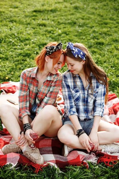 피크닉, 가장 친한 친구 개념에 재미 두 젊은 힙 스터 소녀 프리미엄 사진