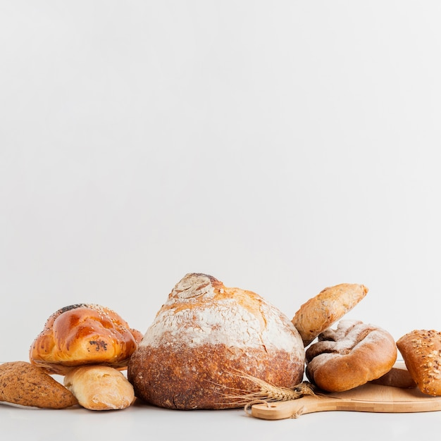 Typed of stacked bread Free Photo