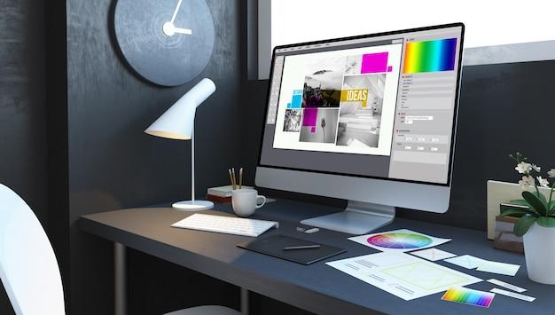 Typesetting design workplace mockup interior 3d rendering Premium Photo