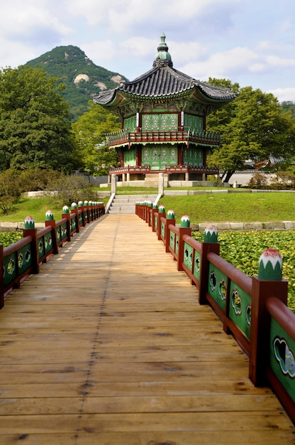 Typical asian pagoda in scenic setting Free Photo