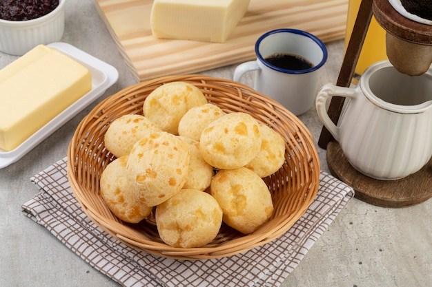 Typical brazilian cheese bread in basket Premium Photo
