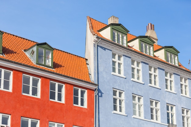 Typical colorful houses in copenhagen old town Premium Photo