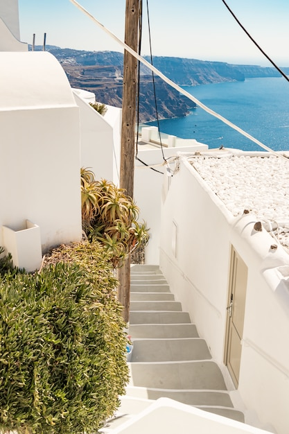 Typical little street in santorini in greece in cyclades Premium Photo