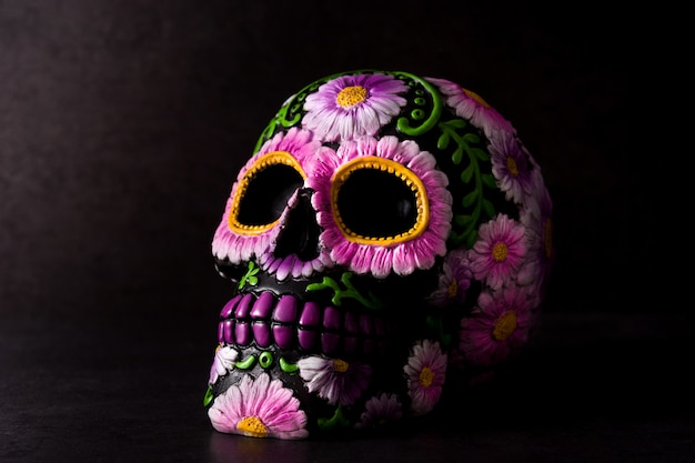 Typical mexican skull painted on black Premium Photo