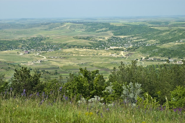 Typical rural view of moldova. hills, villatges and farms. Premium Photo