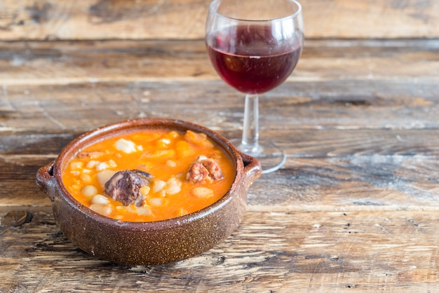 Typical spanish soup (potaje, cocido) Premium Photo