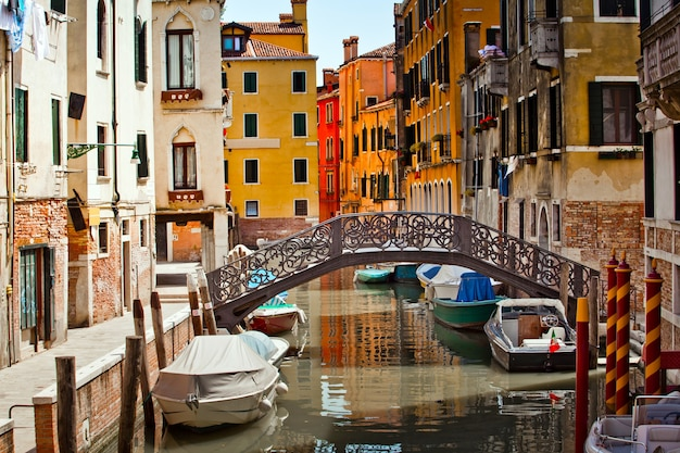 Typical street view in venice city in italy Premium Photo