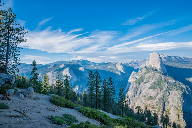 Typical view of the yosemite national park. Premium Photo
