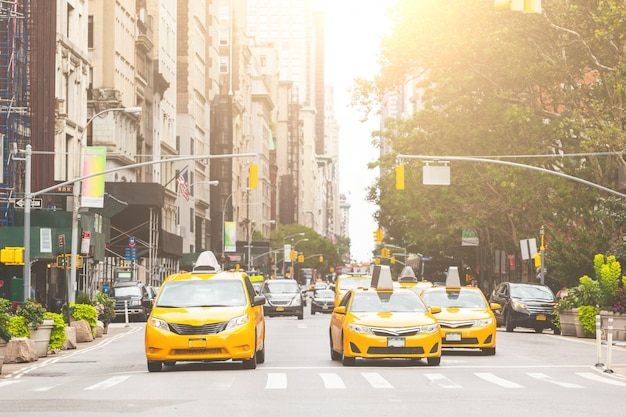 Typical yellow taxi in new york city Premium Photo