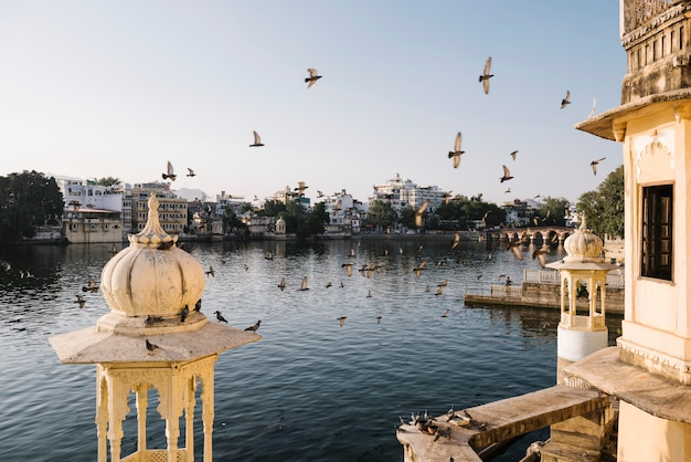 Udaipur city view from a hotel balcony in rajasthan, india Free Photo