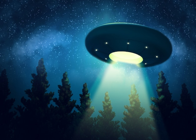 Ufo is hovering over the trees. digital painting 3d render mix Premium Photo